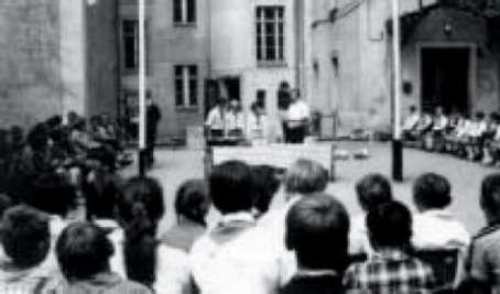 Fahnenappell in Gersdorf, um 1968