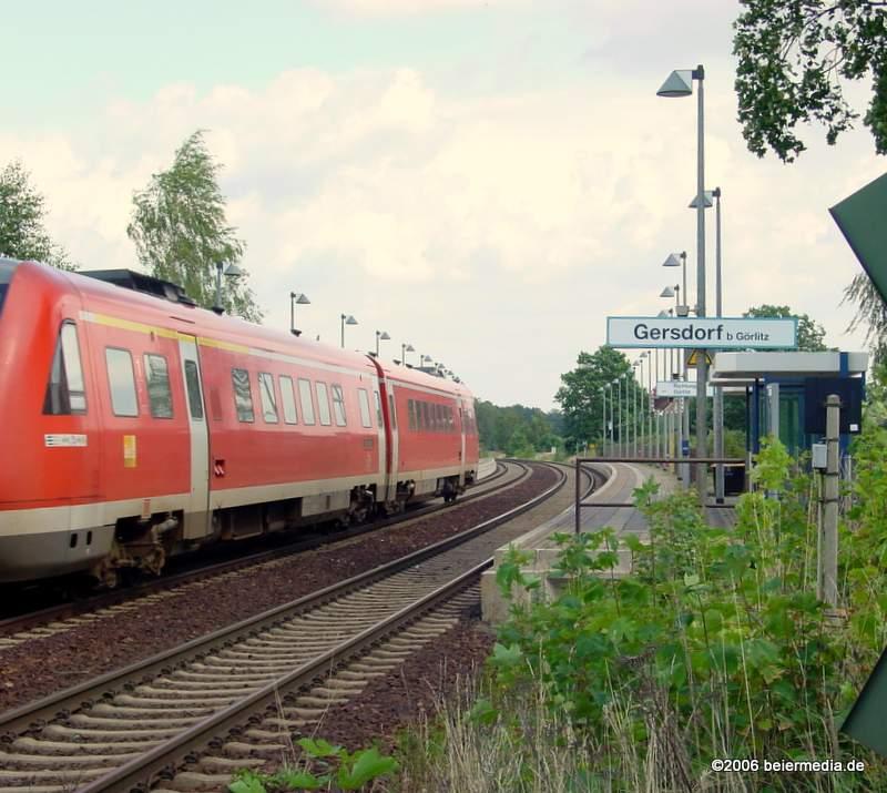 Abbildung: Gersdorf, gelegen an der  Strecke Görlitz - Löbau,  ist der einzige Markersdorfer Ortsteil mit Bahnanschluss.