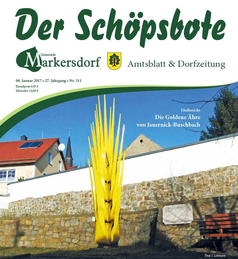 Abbildung: Die Titelseite des neu gestalteten Schöpsboten - Amtsblatt und Dorfzeitung (Ausschnitt).