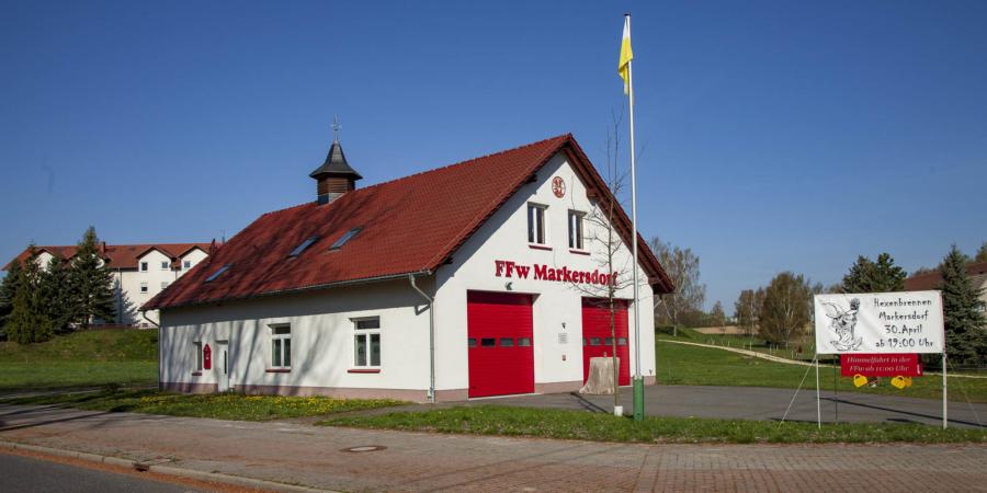 Das Feuerwehrhaus in Markersdorf