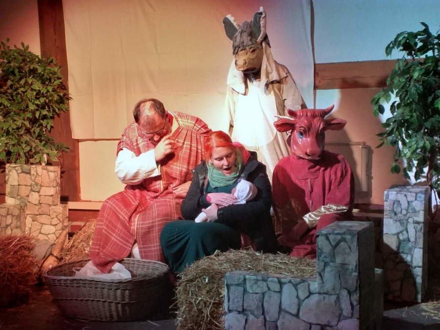Szene im Stall zu Bethlehem