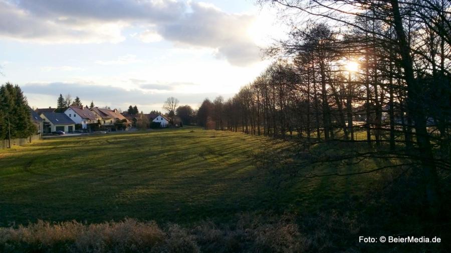 Die reale Welt ist analog – zum Glück: Frühlingssonne über der Schöpsaue in Holtendorf am späten Nachmttag