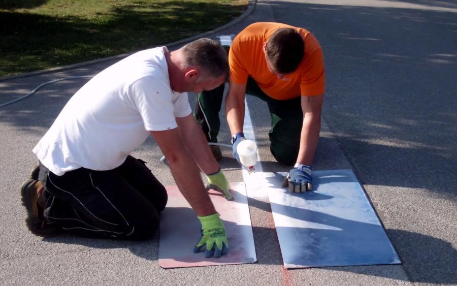 In Friedersdorf und Jauernick-Buschbach wurden Straßenmarkierungsarbeiten durchgeführt