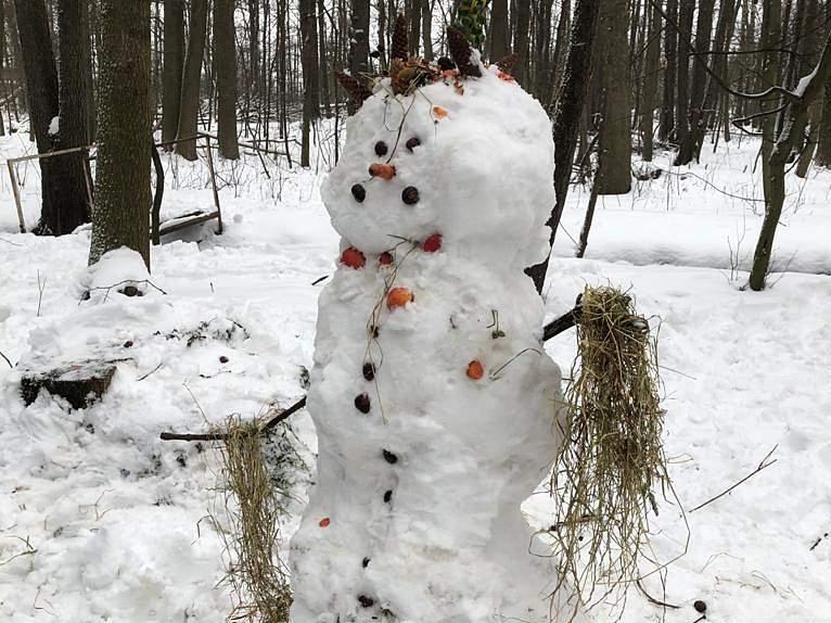 Einen Schneemann zum Anknabbern haben die SCHKOLA-Kinder gebaut