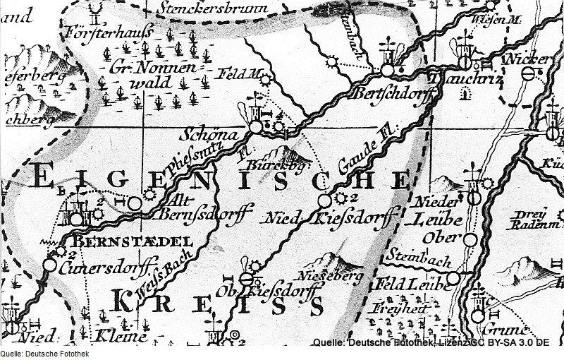 Ausschnitt aus Peter Schenks Oberlausitzkarte (1759): Nördlicher Teil des Eigenschen Kreises