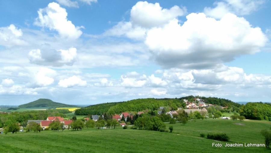 Blick über Jauernick-Buschbach, am Horizont die Landeskrone