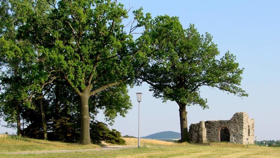 Die Ruine der wohl in der ersten Hälfte des 13. Jahrhunderts von den deutschen Siedlern errichteten Barbarakapelle in Markersdorf, 1429 von den Hussiten zerstört