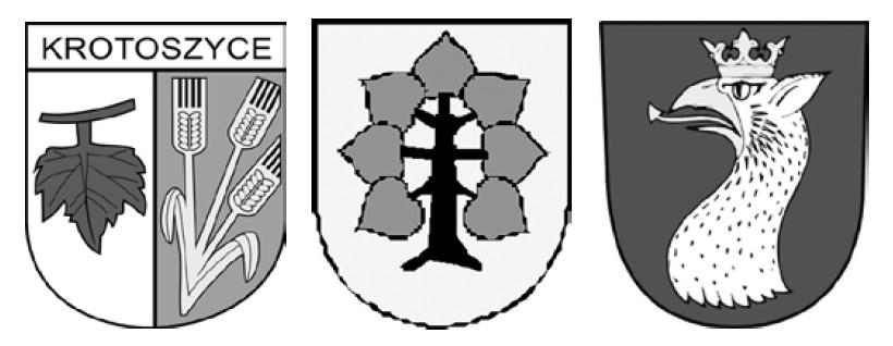Die Wappen der Partnergemeinden Krotoszyce, Markersdorf und Osecna.