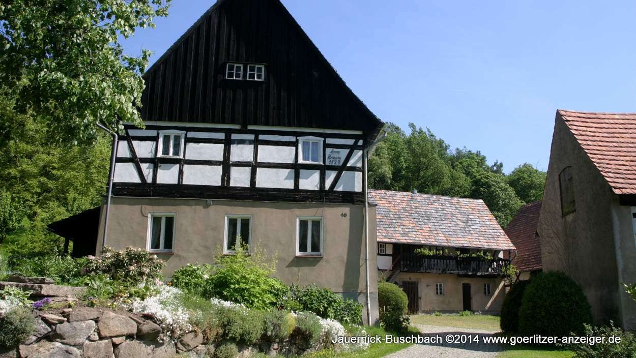 Jauernick-Buschbach  gehört zu den schönsten Orten im Landkreis Görlitz, im Bild ein Bauernhaus von 1523 - drei Jahre älter als der Schönhof in Görlitz.