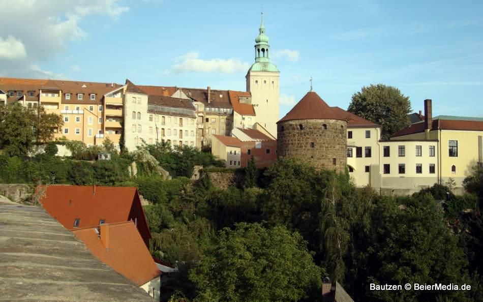 Blick von der Bautzener Stadtmauer in Richtung Kornmarkt.