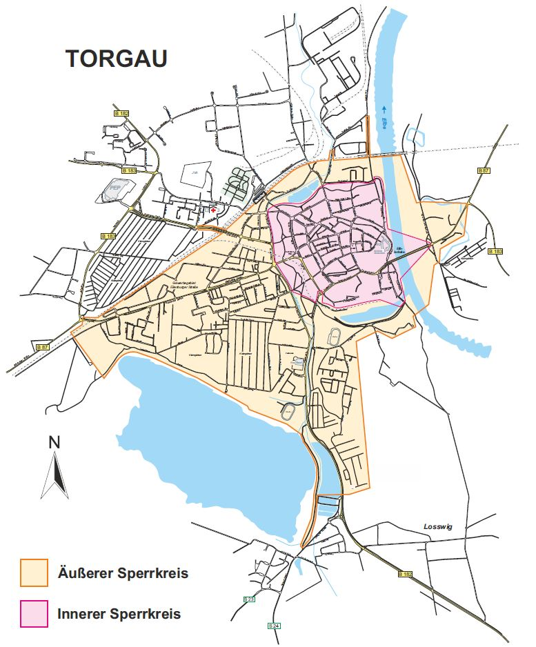 Die beiden Sperrkreise sind wesentlicher Bestandteil des Sicherheitskonzeptes zum Tag der Sachsen in Torgau. Quelle: Stadtverwaltung Torgau